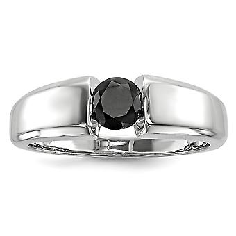 925 Sterling Silver Polished Gift Boxed Closed back Rhodium-plated Round Black Diamond Mens Ring - Ring Size: 9 to 11