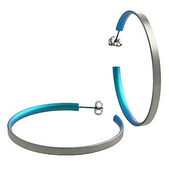 Ti2 Titanium Large Hoop Earrings - Kingfisher Blue