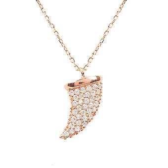Rose Gold Necklace Pink Tooth Tusk Pendant CZ Sterling Silver Modern Gift Short