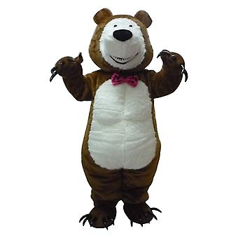 mascot SPOTSOUND of Brown and white Teddy with claws, bear