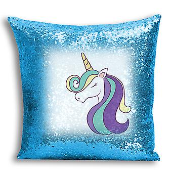 i-Tronixs - Unicorn Printed Design Blue Sequin Cushion / Pillow Cover with Inserted Pillow for Home Decor - 16