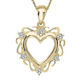 14K gul guld diamant hjerte vedhæng med 18