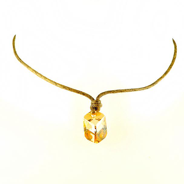 Waooh - jewelry - WJ0282 - necklace with Pierre Swarovski yellow Transparent - Style amber