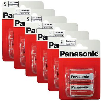 12 x Panasonic R14RZ-2BP C Size Batteries