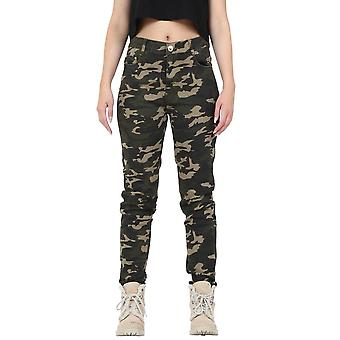 Army Camouflage Fitted Slim Leg Stretch Trousers