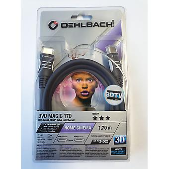 Oehlbach High Speed HDMI Cable with Ethernet 3 D 1.7 Meter DVD Magic 170
