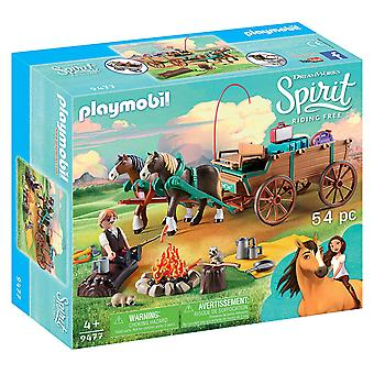 Playmobil, DreamWorks Spirit 9477 Lucky Dad and Wagon