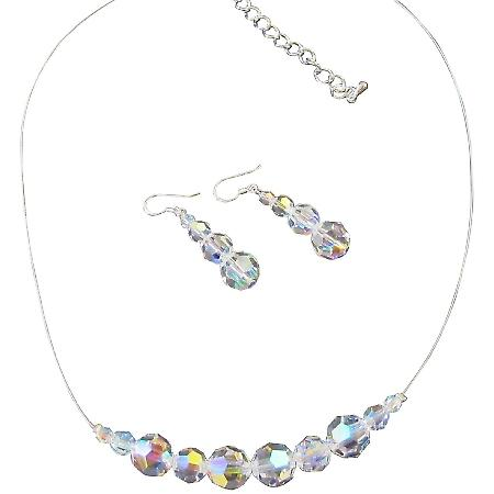Swarovski AB Round Crystal Bridal Bridesmaid Necklace Earrings Jewelry