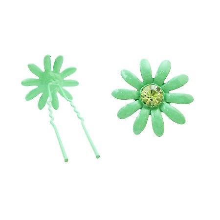 Girls Birthday Gift Green Hair Pin w/ Emerald Crystals Metal Hair Pin