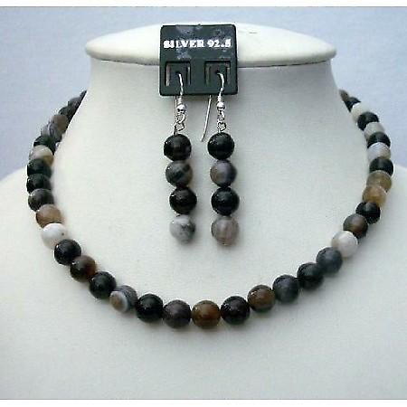 Genuine Black Agate Bead Necklace 8mm Sterling Silver Earing Custom Jewelry