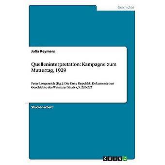 Quelleninterpretation Kampagne zum Muttertag 1929 by Reymers & Julia