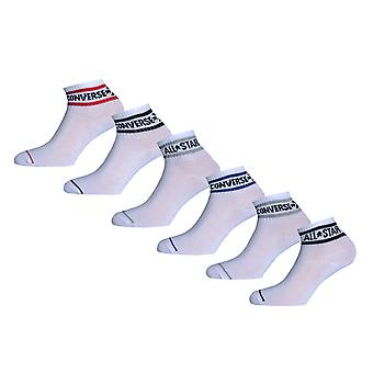 Boys Converse Basic Wordmark Quarter 6 Pair Socks In White-6 Pairs White-