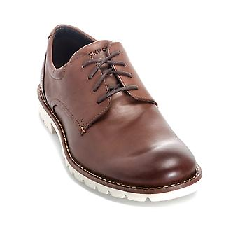 Mens Rockport Sharp & Ready Plain Toe Shoe In Brown- Lace Fastening- Round Toe-