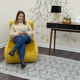 Luxus Scroll Style Tumeric Velvet Bean Bag Lounger Chair