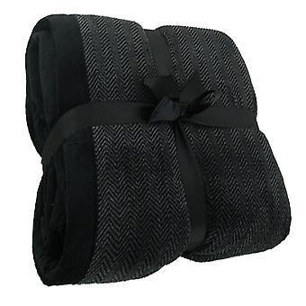 Chevron Stripe koselige Fleece teppe kaste: svart