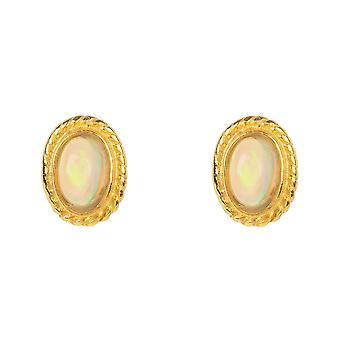Gold Gemstone Birthstone Stud Earring October Opal White Birthday Small Gift 925
