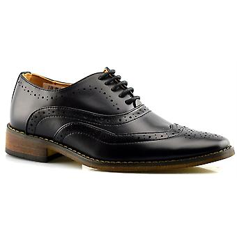 Boys Brogues Formal Shoes Smart Wedding Dress Suit Lace Up Oxford