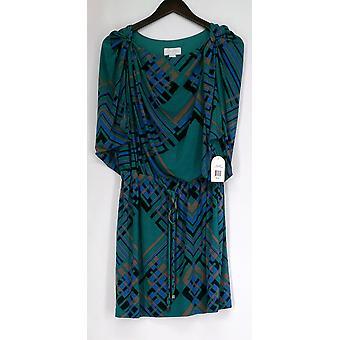 Jessica Simpson Convertible Sleeveless Green Geometric Print Robe