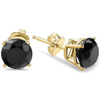 Keltainen kulta 1 1 / 2ct pyöreä leikattu musta timantti nastat