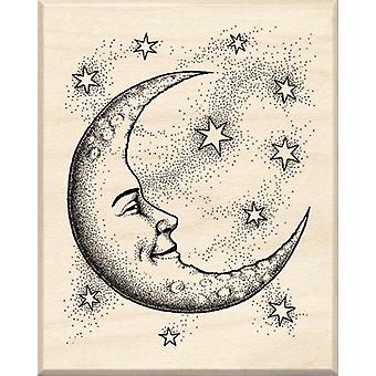 Inkadinkado Wood Mounted Rubber Stamp Cc Crescent Moon Stampcc 95194