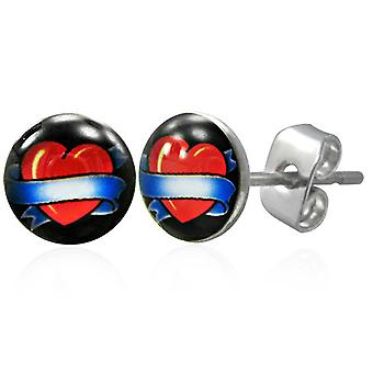 Urban Male Stainless Steel Stud Earrings with 7mm Heart & Banner Design
