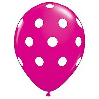Pack of 6 Dark Pink Polka Dots Balloons Party Decorations Birthday Anniversary