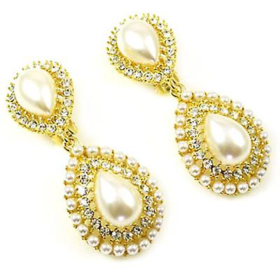 Kenneth Jay Lane Pearl Crystal  and  Gold Teardrop Clip On Earrings