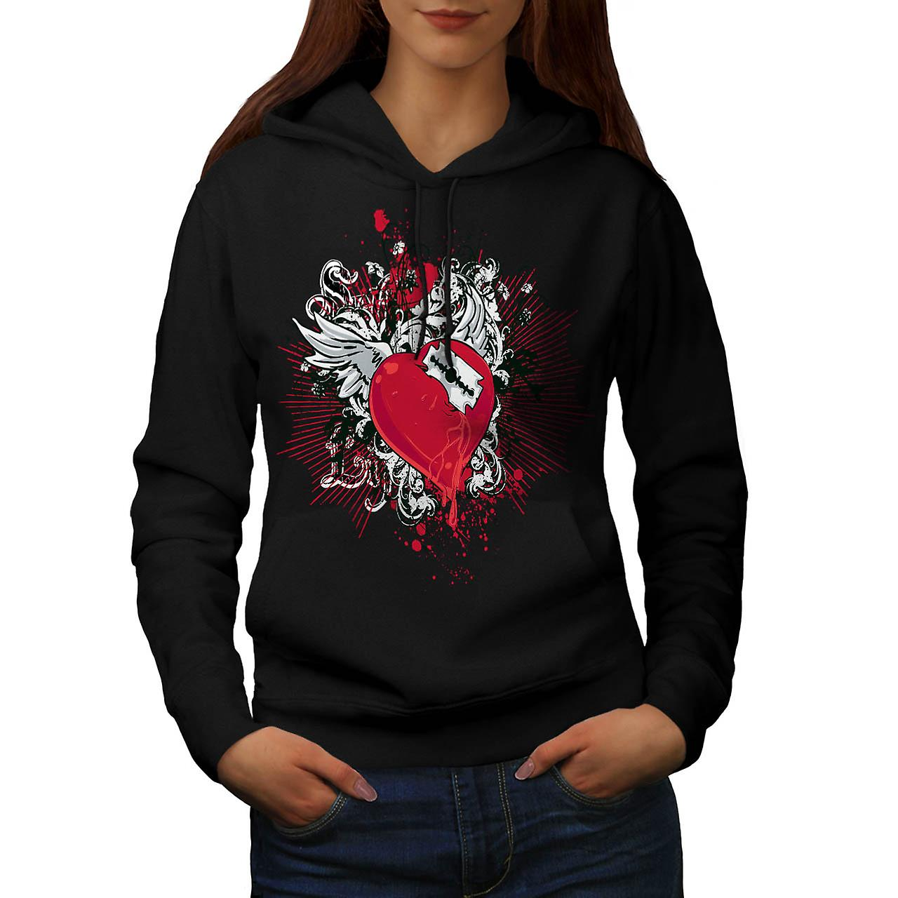Key To My Heart Love Razor Blade Women Black Hoodie | Wellcoda