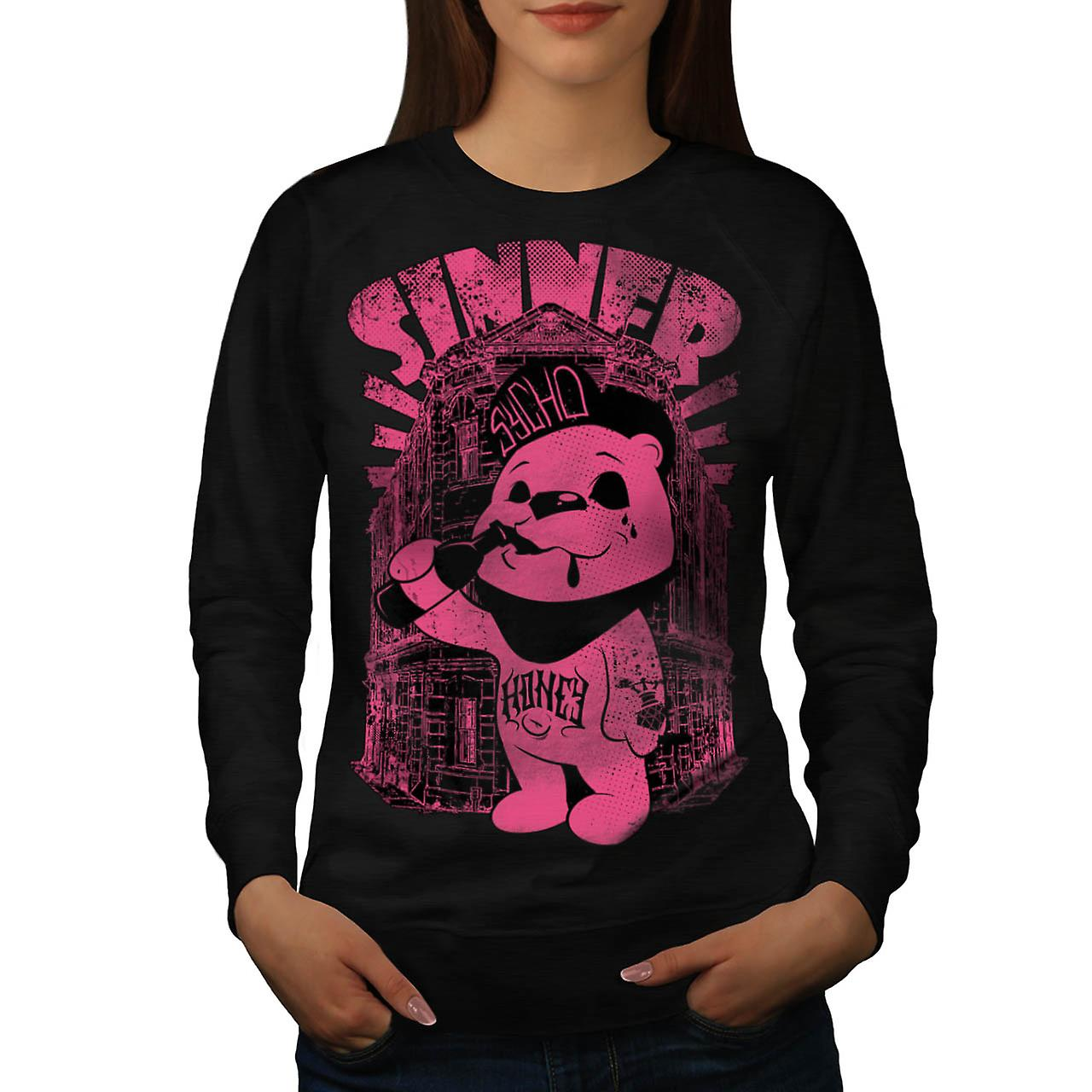 Sinner Teddy Ted Bear Women Black Sweatshirt | Wellcoda