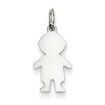 Sterling Silver Polished Flat back Engravable Engraveable Boy Disc Charm - .5 Grams