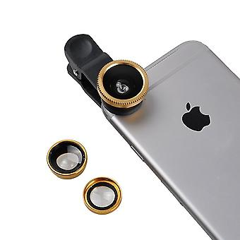 ONX3 Gionee M6 Mirror (Gold) Mobile Phone Universal Camera Lens 3 in 1 Kit Wide Angle Lens + Fisheye Lens + Macro Lens with Clip-on 180 Degree For Both Android and iOS Devices