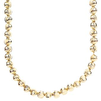 Iced out bling maan GESNEDEN balletjes ketting - 6 mm goud