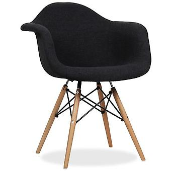 Superstudio Upholstered Wooden Chair Black Beech Arms