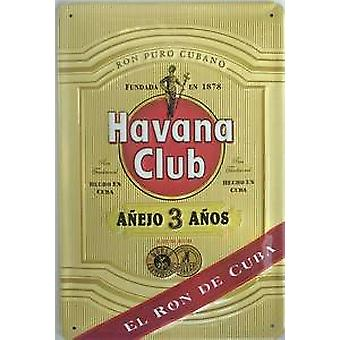 Havana Club Rum ''El Ron De Cuba'' embossed metal sign   300mm x 200mm (hi)