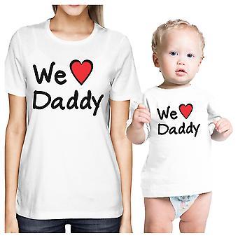 Vi älskar pappa vit mamma Baby Girl matchande tröjor presenter till pappa