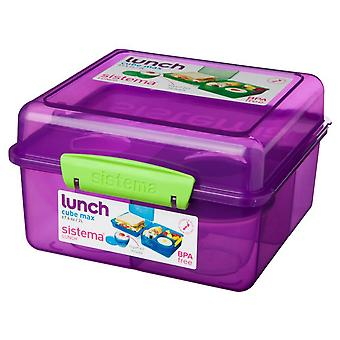 Sistema Lunch Cube Max Lunch Box with Yoghurt Pot, Purple