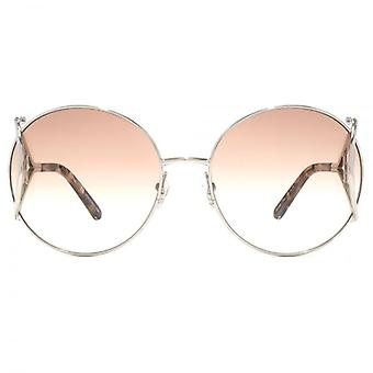 Chloe Jackson Round Racket Temple Sunglasses In Silver Brown Marble