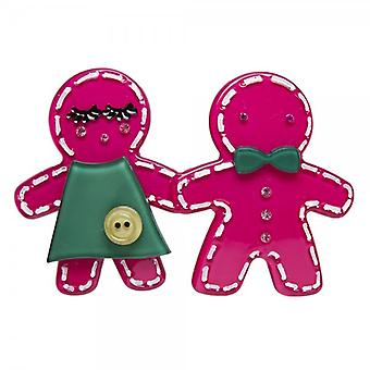Camille Big Baby Womens dames mode sieraden donker roze Gingerbread Man broche speld