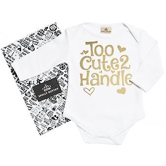 Spoilt Rotten Too Cute 2 Handle Organic Babygrow In Gift Milk Carton