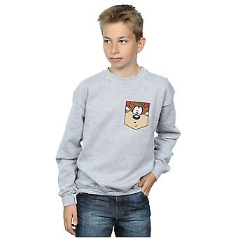 Looney Tunes Boys Tasmanian Devil Face Faux Pocket Sweatshirt