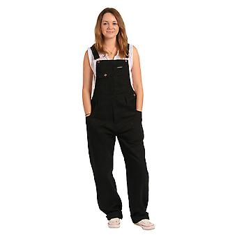 Peviani - Relaxed Fit Dungarees - Black Jean denim unisex bib overall onepiece