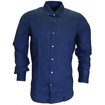 Hugo Boss Black Lukas Regular Fit Pure Linen Blue Shirt