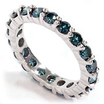 2ct Prong Blue Diamond Eternity Ring 14K White Gold