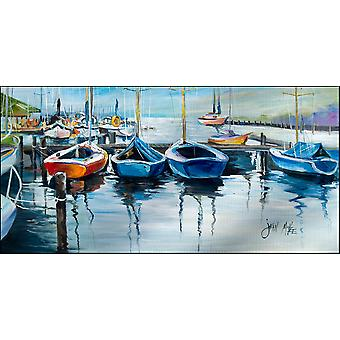 Segelboote warten auf der Anklagebank, Indoor oder Outdoor Runner Matte 28 x 58