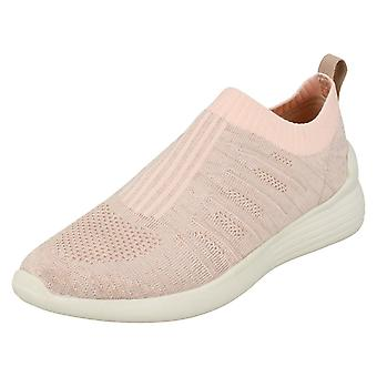 Ladies Reflex Ribbed Slip On Pumps - Pink Textile Fabric - UK Size 8 - EU Size 41 - US Size 10