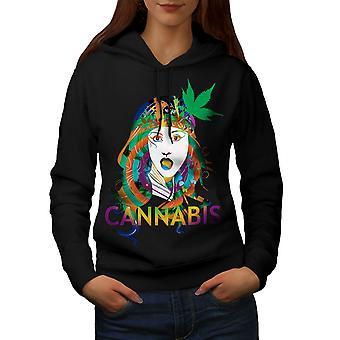 Girl Cannabis Pot Rasta Women BlackHoodie | Wellcoda