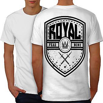 Royal Fear Crown Slogan Men WhiteT-shirt Back | Wellcoda