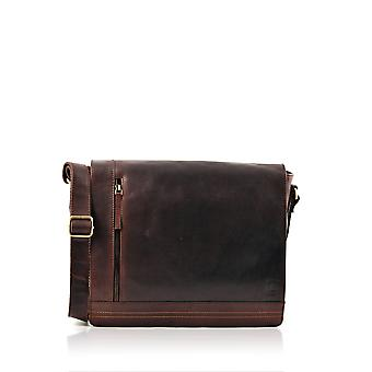 Keswick Large Leather Messenger Bag in Brown