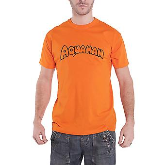 DC Originals Aquaman T Shirt Distressed Logo Official Mens New Orange