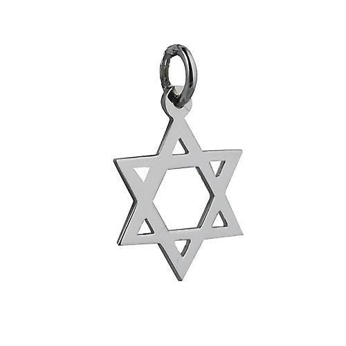 9ct White Gold 17x17mm plain Star of David Pendant